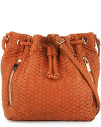 Neiman Marcus Woven Faux Leather Bucket Bag Cognac