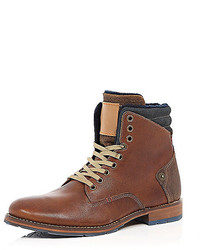 River Island Brown Leather Felt Lined Worker Boots