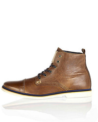 River Island Brown Leather Lace Up Boots