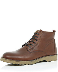 River Island Brown Leather Rustic Boots