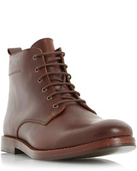 Dune London Cambell Black Leather Lace Up Boot