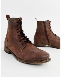 Pier One Lace Up Boots In Brown Nubuck