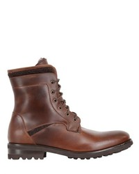 Oiled Leather Shearling Boots