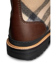 Burberry Shearling Lined Leather And Check Boots