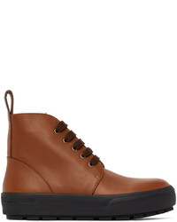 Dries Van Noten Tan Leather Lace Up Boots
