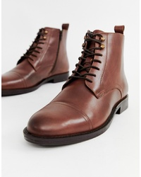 Pier One Toe Cap Lace Up Boots In Brown Leather