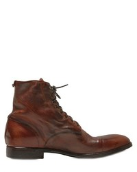 Washed Leather Lace Up Boots