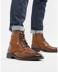 Levi's Whitfield Leather Boot With In Medium Brown