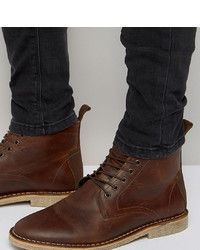 ASOS DESIGN Wide Fit Desert Boots In Tan Leather With