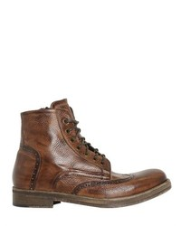 Zipped Brogue Leather Boots