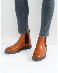 ASOS DESIGN Asos Chelsea Boots In Tan Leather With Ribbed Sole