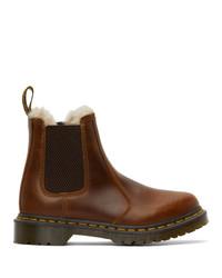 Dr. Martens Brown Faux Fur 2976 Lenore Chelsea Boots