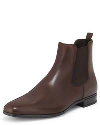 Prada Leather Chelsea Rubber Bottom Boot Brown