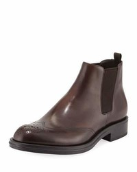 Prada Leather Wing Tip Chelsea Boots Brown