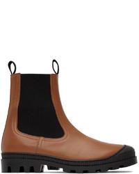 Loewe Tan Leather Chelsea Boots