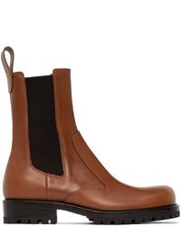 Dries Van Noten Tan Leather Chelsea Boots