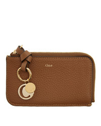 Chloé Tan Alphabet Zip Card Holder