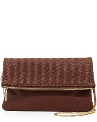 Neiman Marcus Woven Fold Over Clutch Bag Cocoa