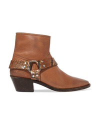 Golden Goose Bretagne Distressed Leather And Snake Effect Ankle Boots