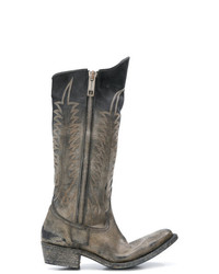 Golden Goose Deluxe Brand Distressed Zipped Western Boots