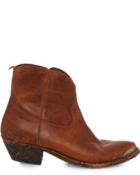 Golden Goose Deluxe Brand Young Western Distressed Leather Ankle Boots