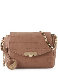 Versace Collection Crocodile Embossed Leather Crossbody Bag Taupe