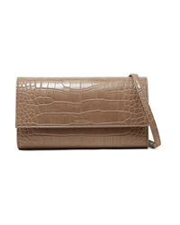 Nanushka Day Croc Effect Vegan Leather Shoulder Bag