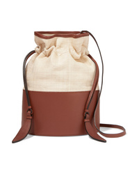 Hunting Season Lola Raffia And Leather Shoulder Bag