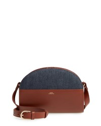 A.P.C. Sac Demilune Leather Denim Crossbody Bag