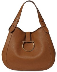 Salvatore Ferragamo Perrine Grained Leather Shoulder Bag