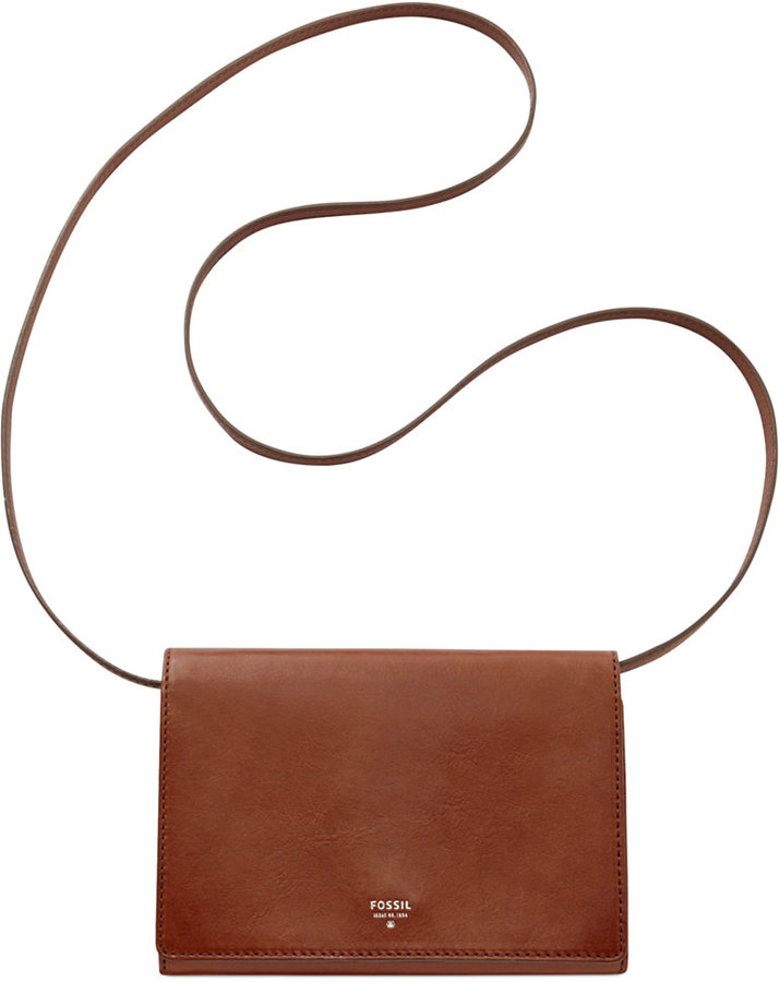 ... Brown Leather Crossbody Bags Fossil Sydney Leather Flap Mini Crossbody  ... bc6b2cc6736d