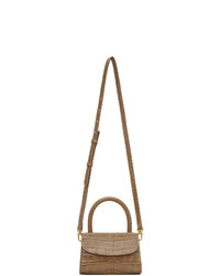 By Far Taupe Mini Croc Bag
