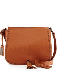 Badgley Mischka Tiffany Large Leather Shoulder Bag Cognac