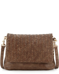 Neiman Marcus Woven Faux Leather Reptile Shoulder Bag Cocoa