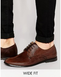 Asos Brand Wide Fit Derby Shoes In Brown Leather