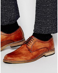 Asos Brand Derby Shoes In Tan Leather
