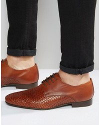 Asos Brand Derby Shoes In Woven Tan Leather