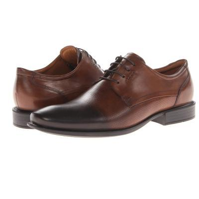 ... Ecco Cairo Perforation Tie Shoes Walnut Oxford Leather
