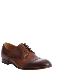Gucci Dark And Light Brown Leather Tooled Oxfords
