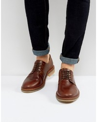 Asos Derby Shoes In Brown Leather With Natural Sole