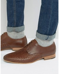 Asos Derby Shoes In Brown Leather With Weave Detail
