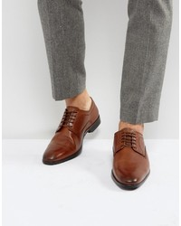 Asos Derby Shoes In Tan Leather