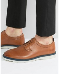 Asos Derby Shoes In Tan Leather With Contrast Sole Detail
