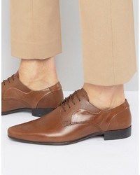 Asos Derby Shoes In Tan Leather With Emboss Detail