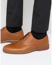 Red Tape Derby Shoes In Tan Milled Leather