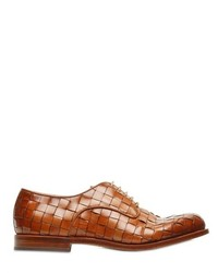 Santoni Hand Woven Leather Derby Lace Up Shoes