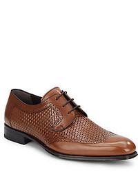 Mezlan Woven Leather Cap Toe Derby Shoes