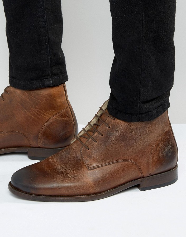 bd535a0820e $36, Asos Chukka Boots In Brown Leather With Fleece Lining