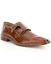 Belvedere Amico Double Monk Strap Ostrich And Calfskin Dress Shoes