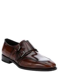 Salvatore Ferragamo Bison Brown Shined Leather Dual Monk Strap Loafers